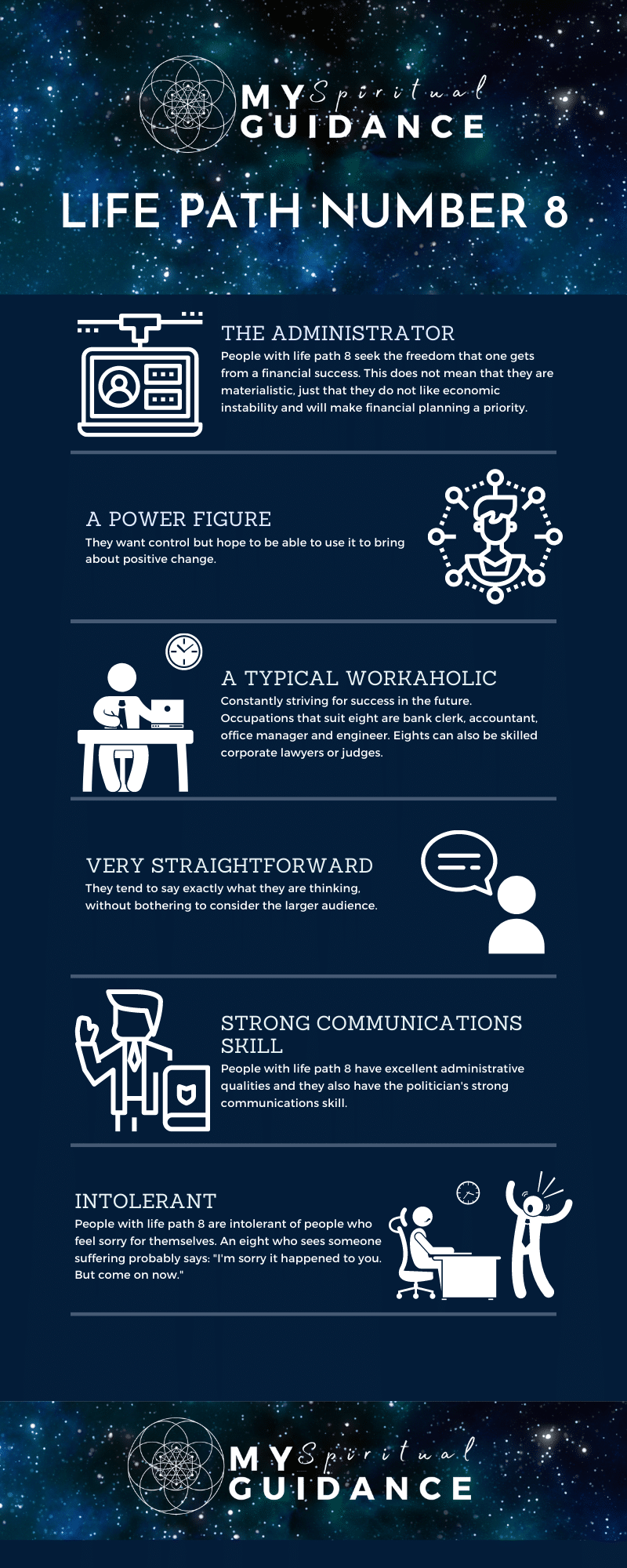 Life Path Number 8 The Administrator infographic